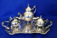 4 set Silverfooted Tea Pot, Creamer, Sugar & Tray Bowie, 20715