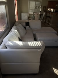 White leather sectional and dining room table combo  Las Vegas, 89139