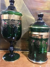 two green-silver-and-black floral glass containers Mississauga, L4Z 3H1