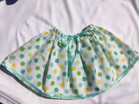Unique hand maid white skirt with yellow/green poco dots and green details  Skokie, 60077