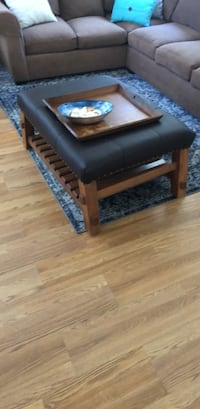 brown wooden frame black padded bench San Diego, 92128