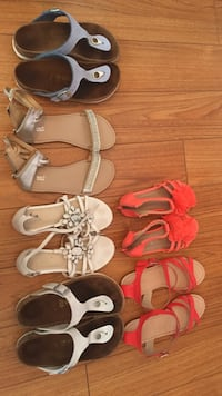 Birkenstocks as $20 each. $40 for two pairs. Size 4&5 Others are $10 each size 4,5, 6 They r all brand names like Zara and others thanks  Windsor, N8R 1P1