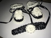 Black and white baby girl booties and headband WINCHESTER