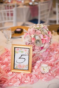 Pink or rose gold wedding theme. Alexandria