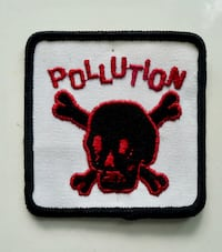 1960s Pollution Skull Crossbones Embroidered Biker Patch Bethesda, MD, USA