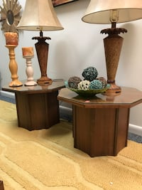 Mid century modern pair of end tables with glass tops Ocala, 34475