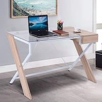 New in box 48x24x30 inches tall tempered glass top wooden computer office desk with drawer  Los Angeles, 90032