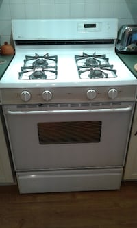 white and black gas range oven AJAX