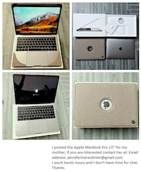 Model:	 MacBook Pro MPN:	 MR9R2LL/A Modified Item:	No	Release Year:	2018 Operating System:	Mac OS X 10.13, High Sierra	Storage Type:	Flash Storage    Apple MacBook Pro  [PHONE NUMBER HIDDEN] GB - SPACE GRAY Los Angeles