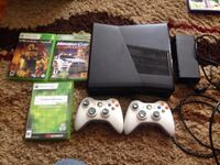 Xbox 360 with 3 games and 2 controllers