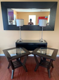 Moving Sale: 2 End Tables, 1 Sofa / Console Table, 1 Decorative Accent Mirror, 2 Table Lamps