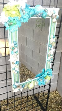 Jeweled/sea shell pearl beveled mirror