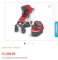 Uppababy red stroller with Baby bassinet Toronto, M2J 3W4