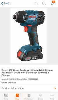 Brand New Bosch 18v Lithium Cordless Impact Driver Drill - 5 Batteries Barrie