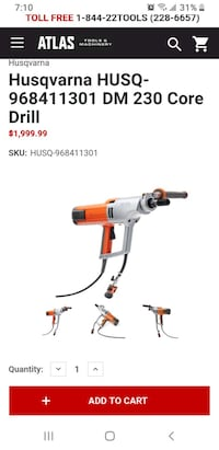 Husqvarna DM 230 Core Drill with brand new 16x2 inch core bit. OBO