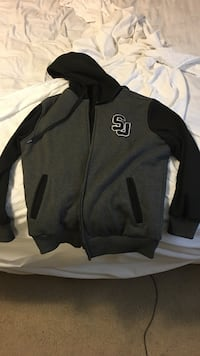 gray and black letterman jacket
