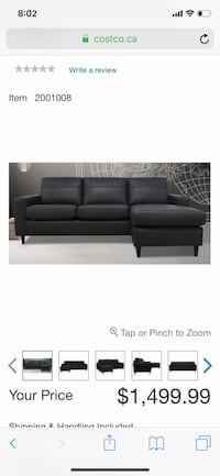 Italian Leather Reversible Chaise Sofa (Sectional)