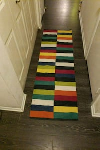 red, white, and black stripe runner rug