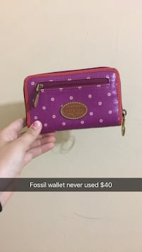 purple and pink leather Fossil floral zip wallet