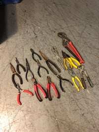 Assorted pliers and wrench
