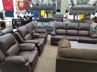 Brand new espresso bonded leather sofa loveseat chair recliner set College Park