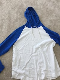 white and blue pullover hoodie