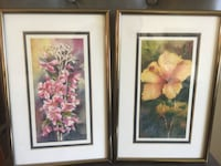 Pair of framed small original floral watercolor paintings  科奎特兰