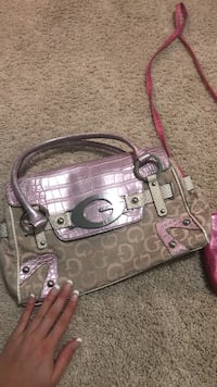 monogrammed brown and pink Guess crossbody bag