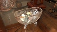 clear cut glass footed bowl Teaneck, 07666