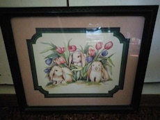 three Rabbit with flower framed painting