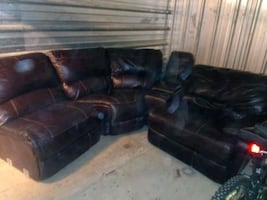 Leather sectional sofa coffee table and end table $500 obo