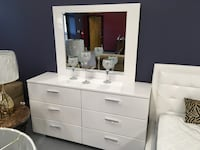 Crystal Gloss White Dresser and Mirror Charlotte, 28216