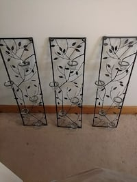 Three piece metal wall art candle holders Catonsville, 21228