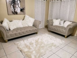 Tufted beige/gray couch set loveseat sofa