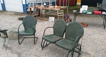 vintage metal glider and chair