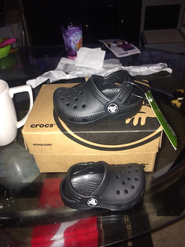 ec5691709 toddler s pair of black Crocs clogs with box. HomeUsed Fashion and  Accessories in New York ...