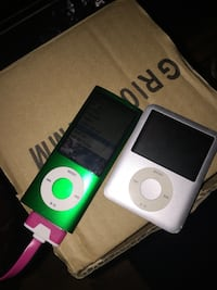 Green ipod nano 5th gen. and silver ipod classic