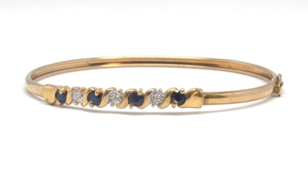 Ladies 10K Sapphire/Diamond Bangle