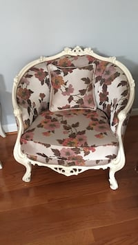 White and brown floral padded armchair french antiques Centreville, 20121