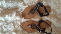 brown and black leather sandals Redding, 96001