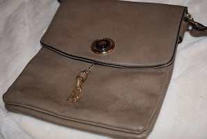 Beige Faux Leather Purse Tote w/ Tassle