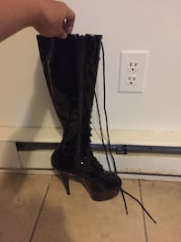 Black leather lace up/zip up knee high stiletto bo Dallas, 28034