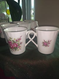 White and Pink Floral Ceramic Mugs Melbourne