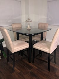 rectangular glass top table with four chairs dining set Houston, 77030