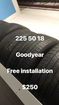 Goodyear 225/50R18 tire set with text overlay Vaughan, L4J 1A1