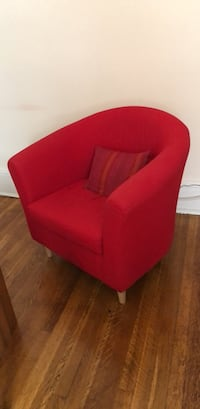 red fabric sofa chair with throw pillow Washington, 20009