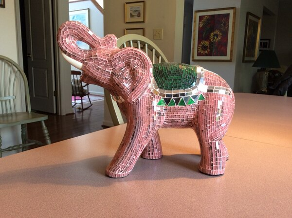 Hand made glass elephant