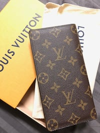 Brown and black louis vuitton leather wallet