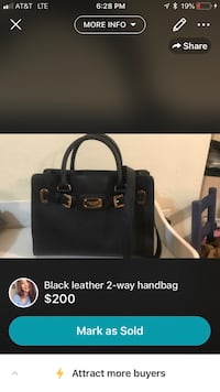 black leather 2-way handbag screenshot Mesa, 85210