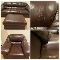 Soft brown leather sofa, chair and ottoman Springfield, 22150